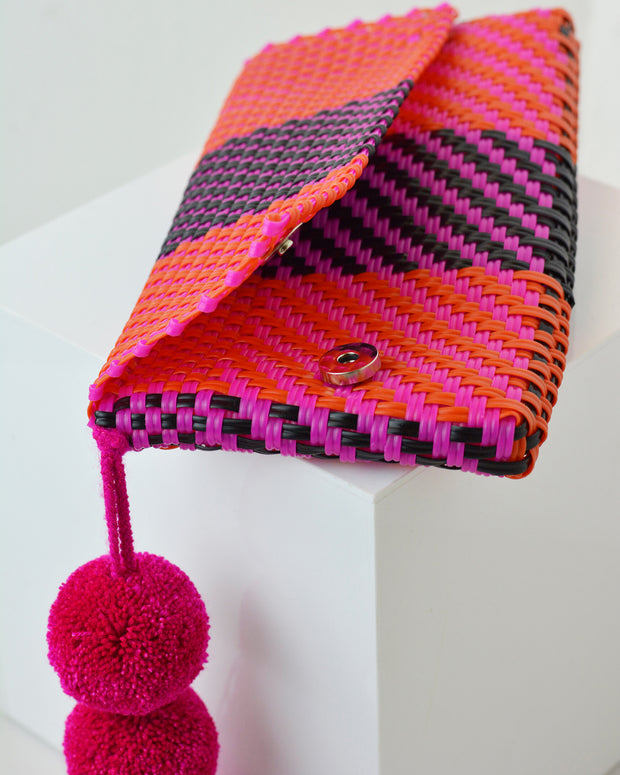 Pink & Purple Pom Pom Clutch