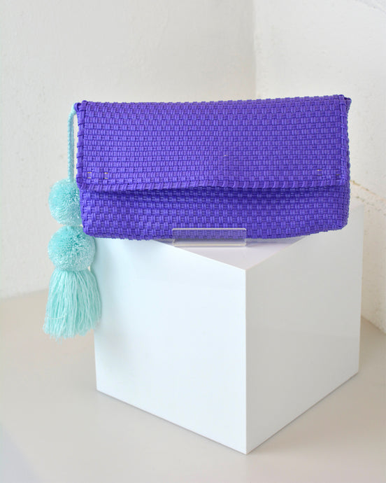 Purple Pom Pom Clutch