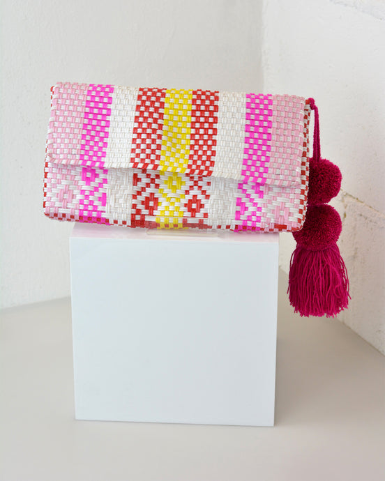 Pink, White & Yellow Pom Pom Clutch
