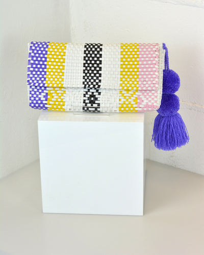White, Purple & Yellow Pom Pom Clutch