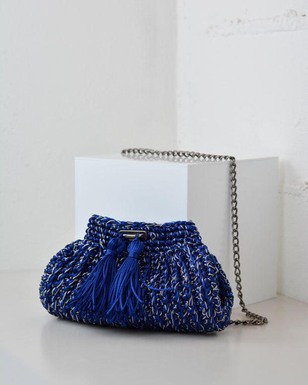Blue & Silver Crochet Cross-Body Bag
