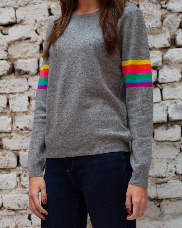 Grey Rainbow Crew Jumper