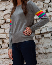 JUMPER 1234 | BLAIZ | CASHMERE GREY RAINBOW CREW NECK JUMPER SWEATER