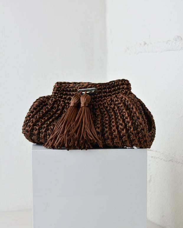 Brown Crochet Cross-Body Bag