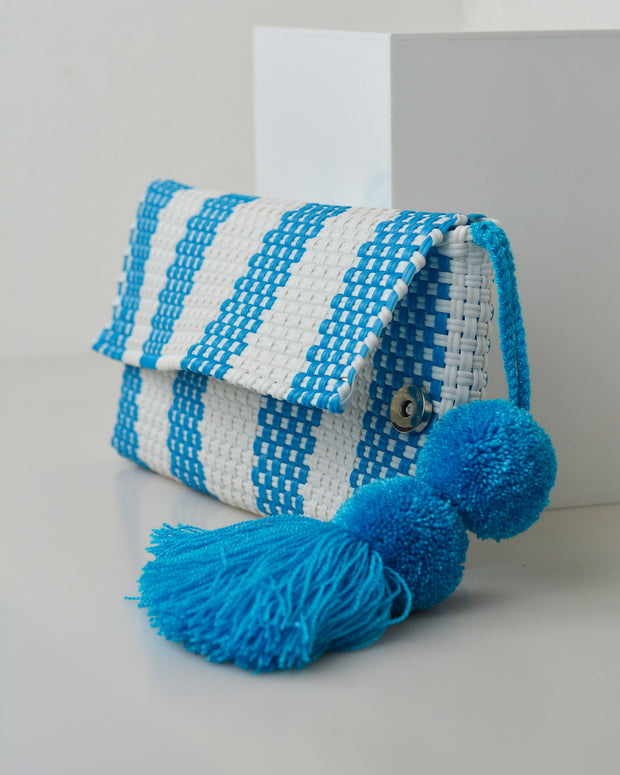 Blue & White Pom Pom Clutch