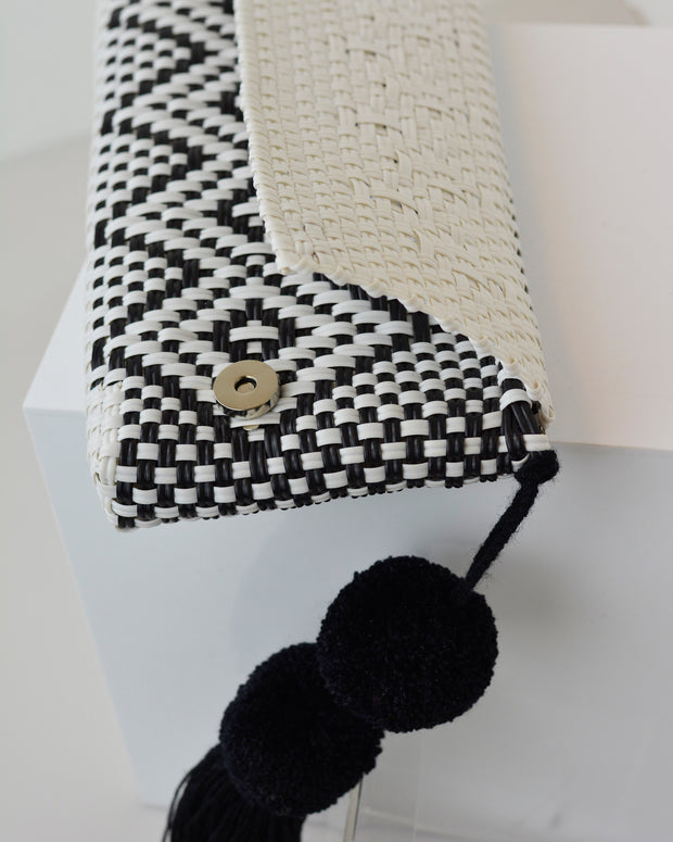 Black & White Pom Pom Clutch