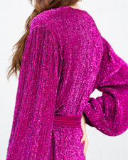 Magenta Audrey Sequin Midi Dress