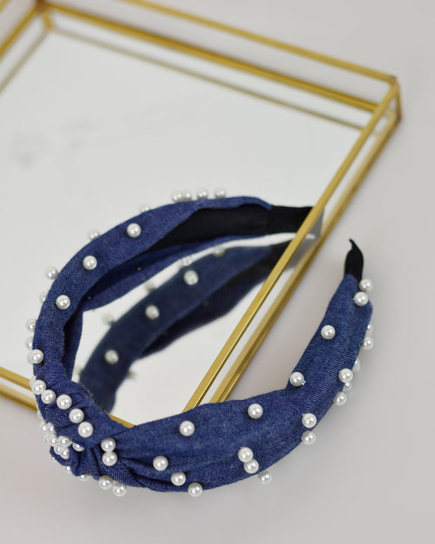 Dark Denim & Pearl Headband