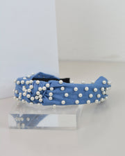 227 | BLAIZ | Denim & Pearl Headband