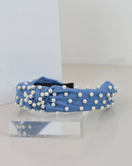 Denim & Pearl Headband