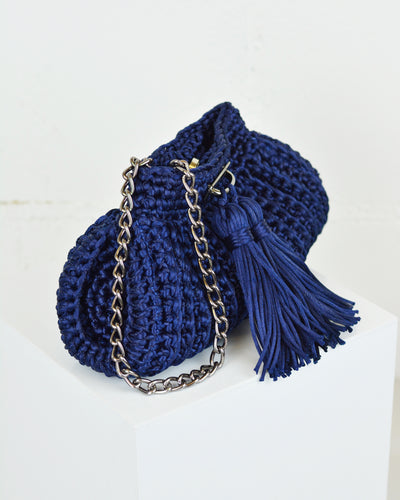 Navy Crochet Cross-Body Bag