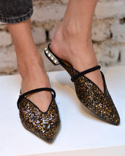 Black Glitter Pointed Flats