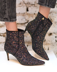 Black Glitter Ankle Boots