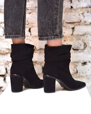 Black Suede Slouch Ankle Boot