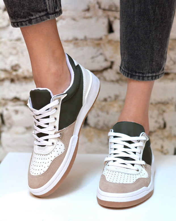 White & Green Tennis Sneakers