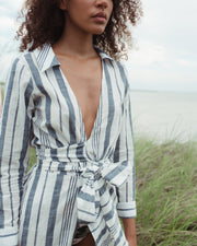 Navy Stripe Shirt Cover-Up