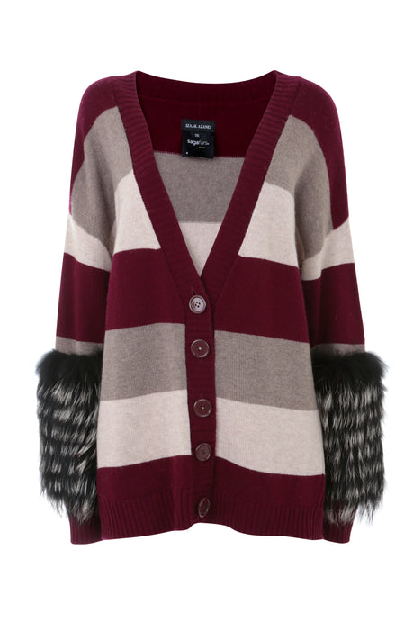 Striped Knit Fur Cuff Cardigan