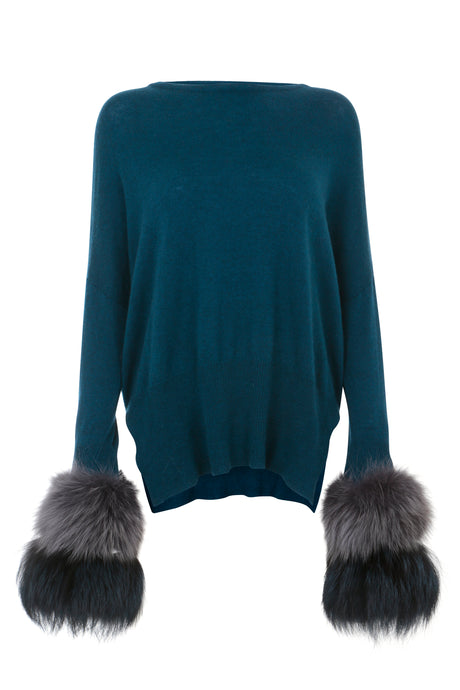 Teal Dual Tone Cuff Sweater