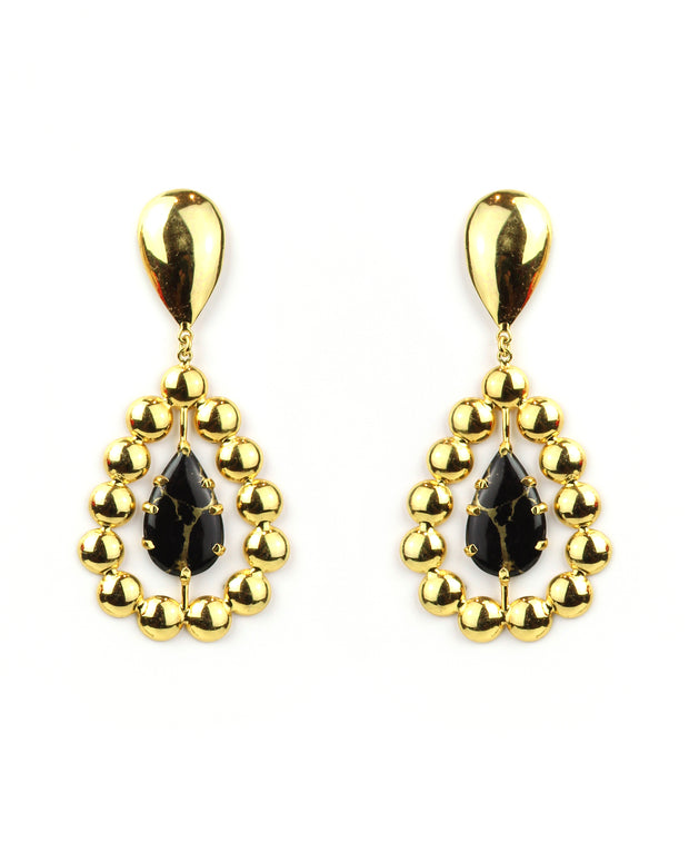 Black Jasper Gold Leem Earrings