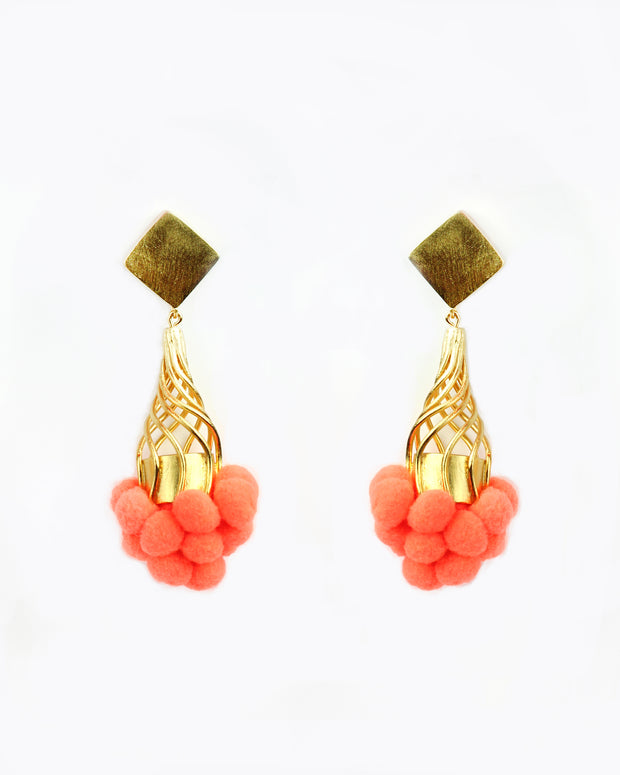 Orange Tutu Pom Pom Earrings