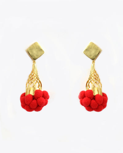 Red Tutu Pom Pom Earrings