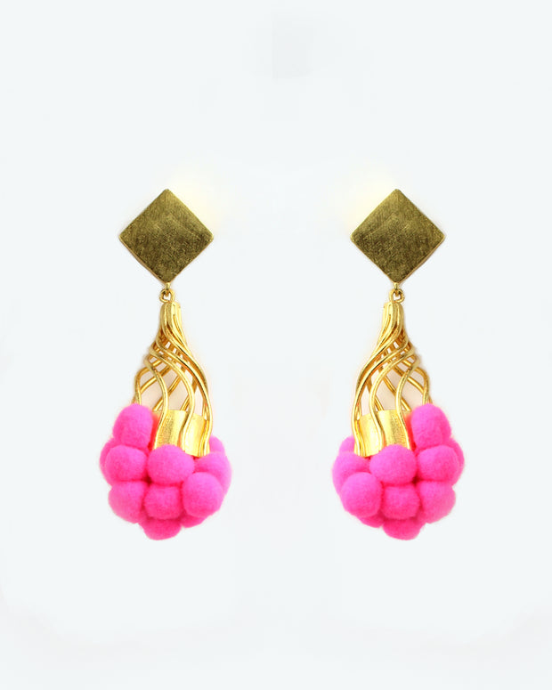 Pink Tutu Pom Pom Earrings
