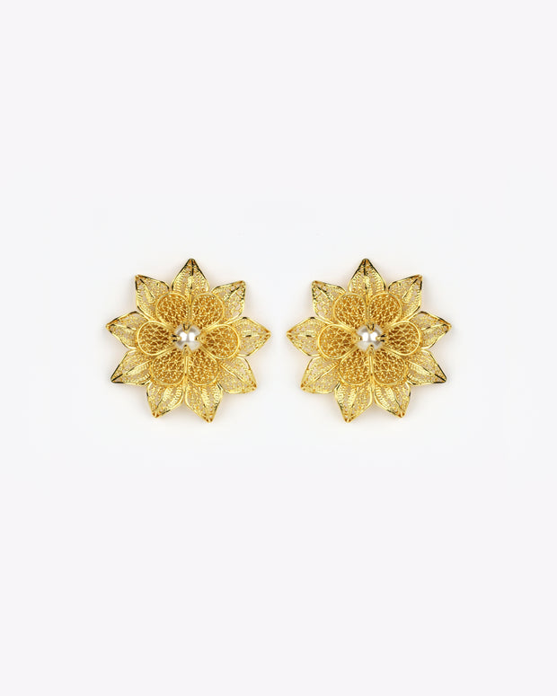 Gold Rhapsody Rose Earrings