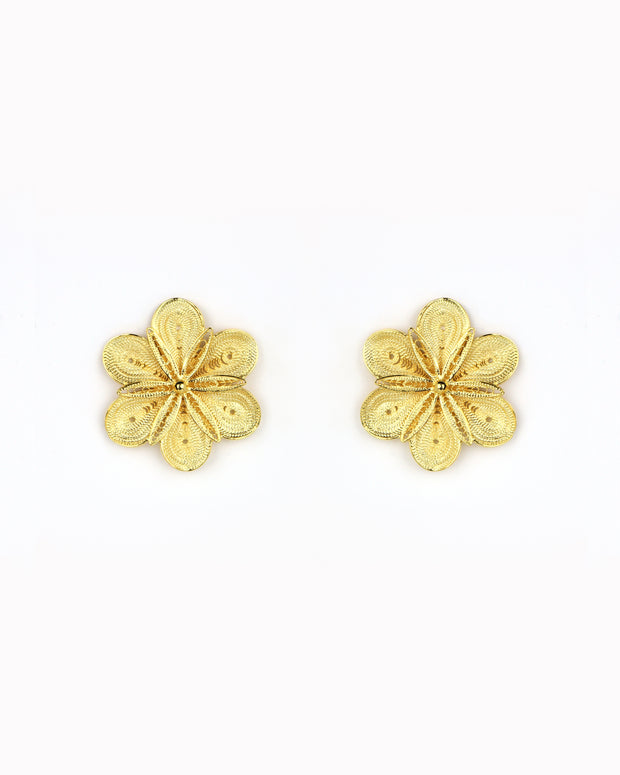 Gold Garden Rose Earrings