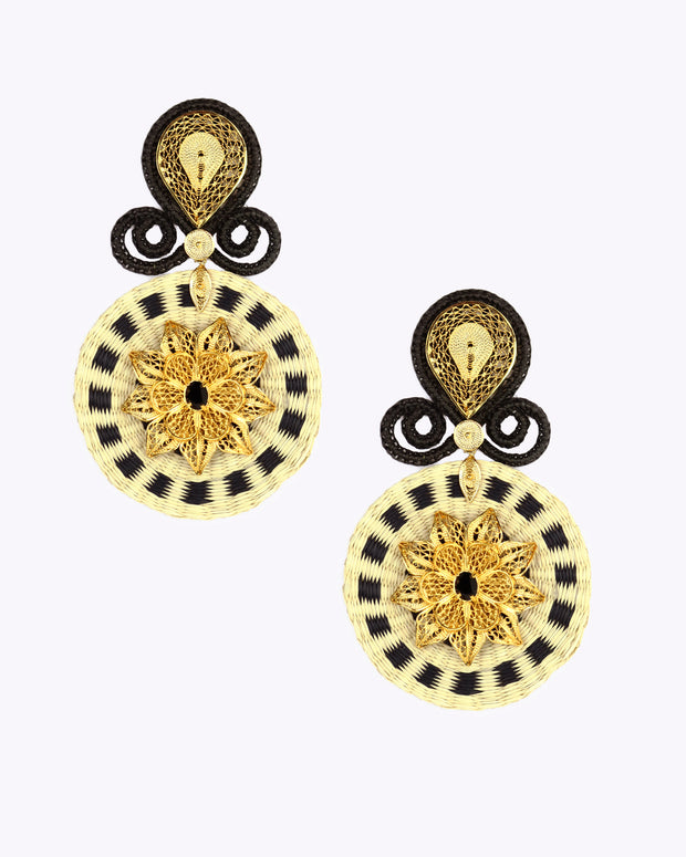Black & Gold Iraca Rhapsody Earrings