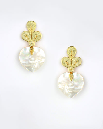 Gold Nacar Heart Earrings