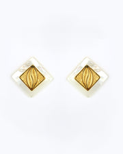 Gold Shell Farah Square Earrings