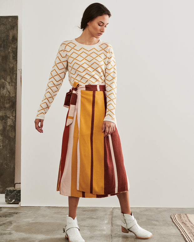 Wide Stripe Pancha Midi Skirt