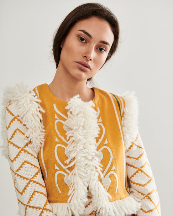 Yellow Chillon Embroidered Gilet