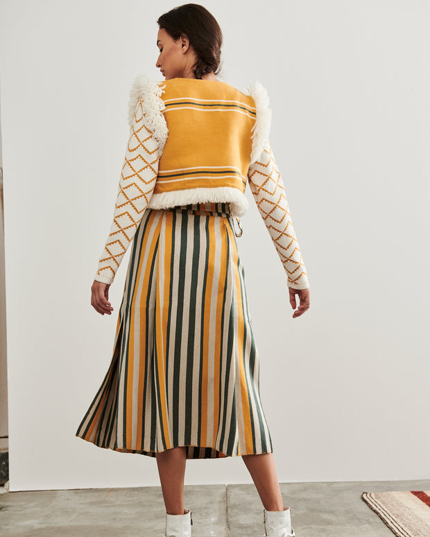 Striped Pancha Midi Skirt