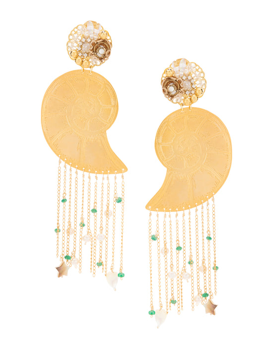 Golden Moon Snail Earrings