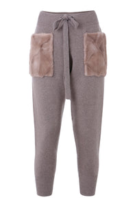 Beige Trousers with Fur Pockets
