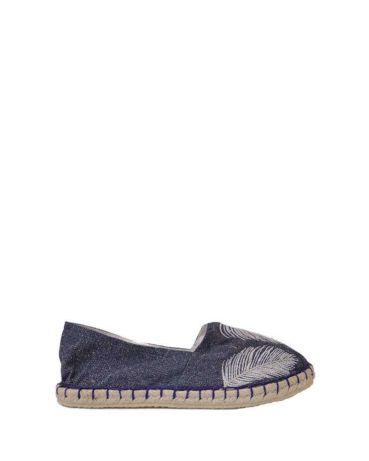 ANAS | BLAIZ | Blue Denim Feather Espadrilles