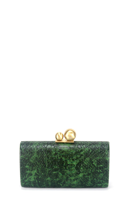 Green Croc Print Clutch Bag