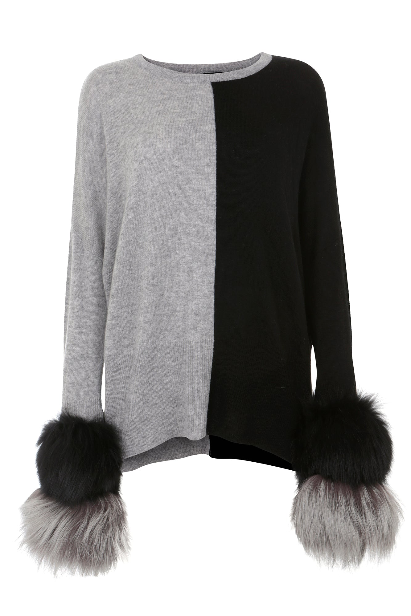 Black & Grey Two-Tone Fur Cuff Sweater
