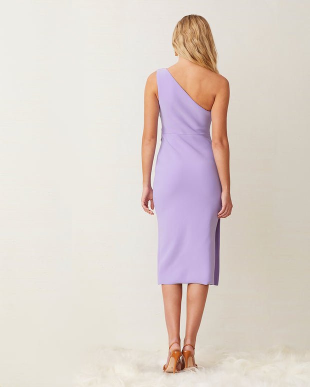 Lilac One Shoulder Midi Dress
