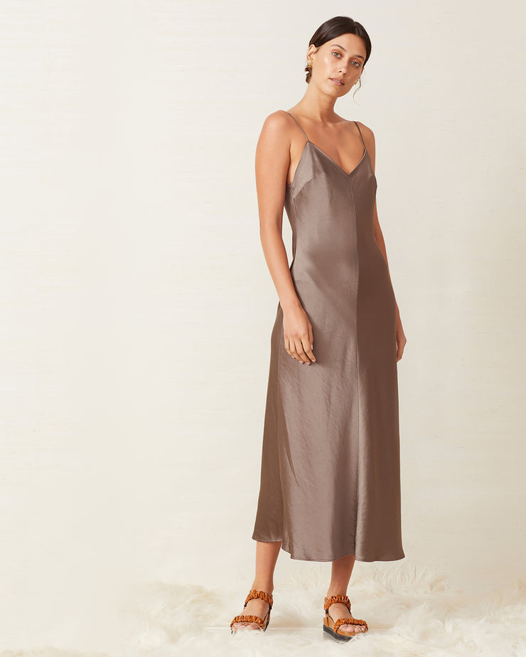 Taupe Piper Midi Slip Dress