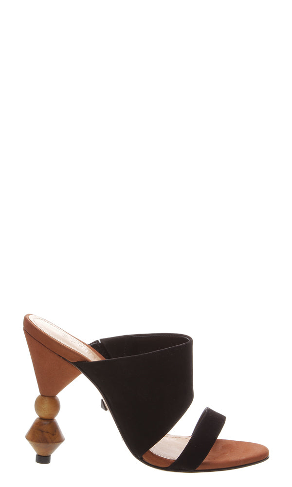 SCHUTZ | BLAIZ | Black High Heel Mules Wooden Block Multi Heel