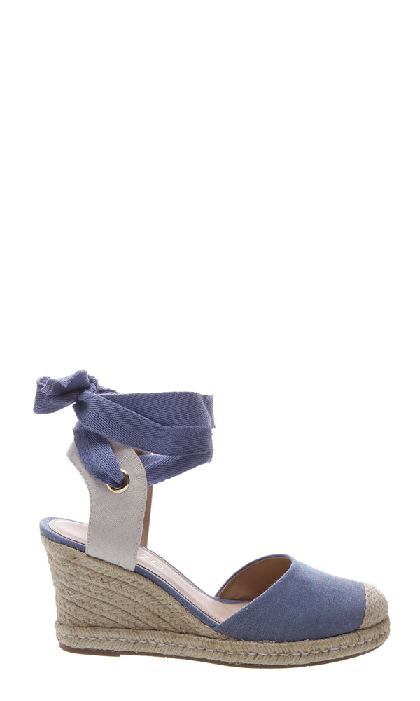 AREZZO | BLAIZ | Light Blue Dusty Blue Espadrille Wedges Heels Natural Raffia