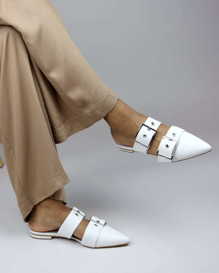 White Buckle Pointed Flats