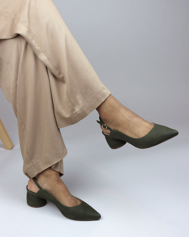 AREZZO | BLAIZ | Olive Green Suede Slingbacks Block Heel Summer Autumn Buckle