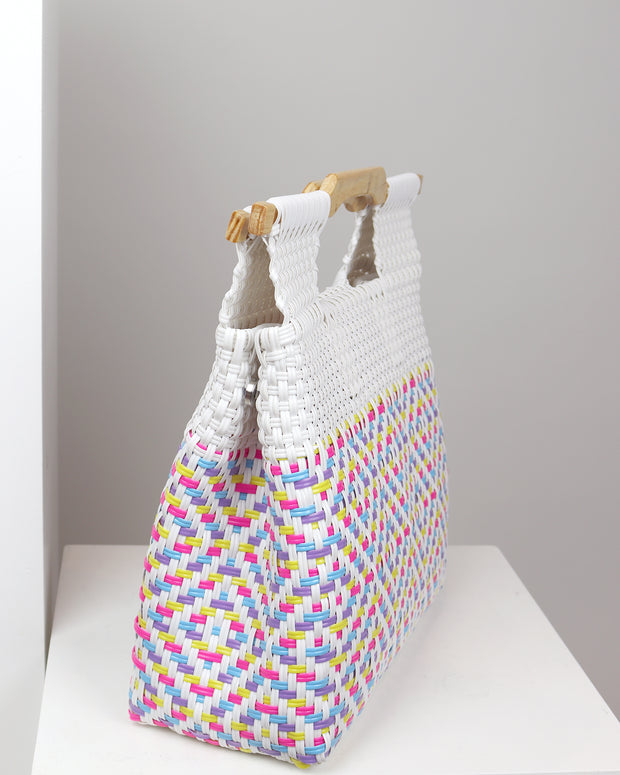 Juana Wooden Handle Woven Tote