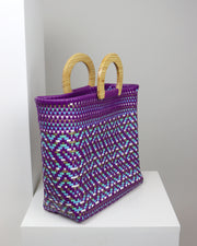 OAXACA | BLAIZ | Yesenia Purple Wooden Handle Woven Tote