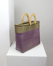 Linda Wooden Handle Woven Tote