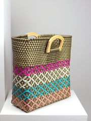 Maya Wooden Handle Woven Tote