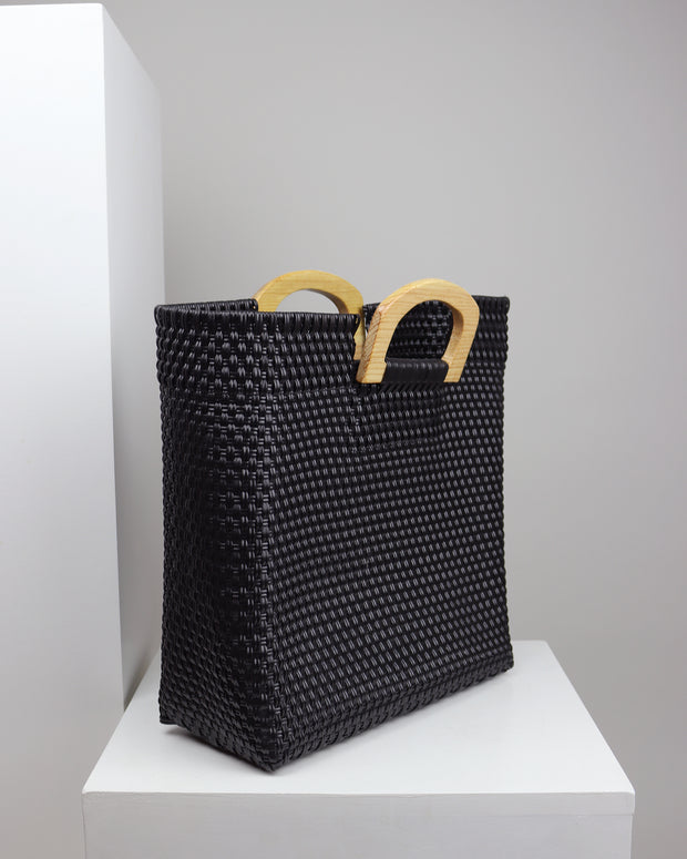 Marisa Wooden Handle Woven Tote